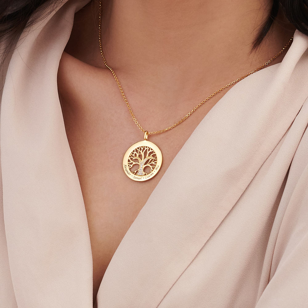 Family Tree Circle Necklace with Cubic Zirconia in Gold Plating - 3