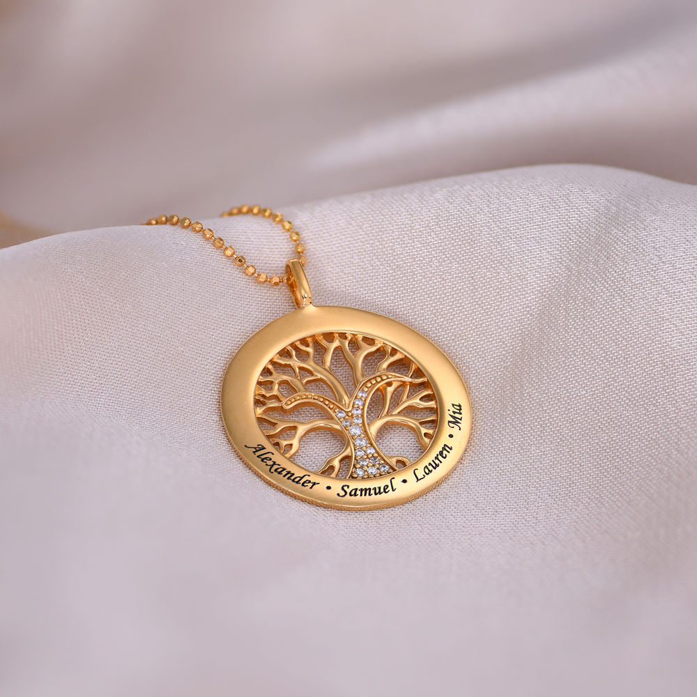 Family Tree Circle Necklace with Cubic Zirconia in Gold Plating - 4