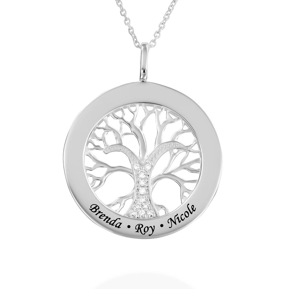 Family Tree Circle Necklace with Diamond in Sterling Silver
