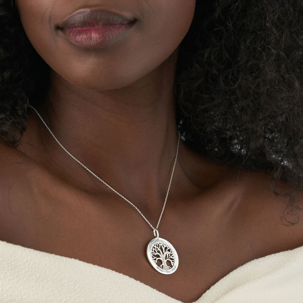 Family Tree Circle Necklace with Diamond in Sterling Silver - 3