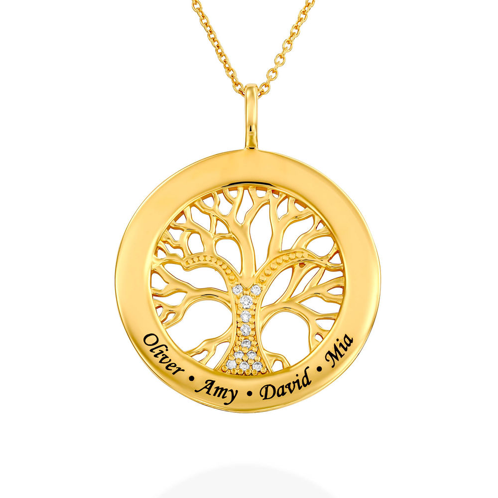 Family Tree Circle Necklace with Diamond in Gold Plating