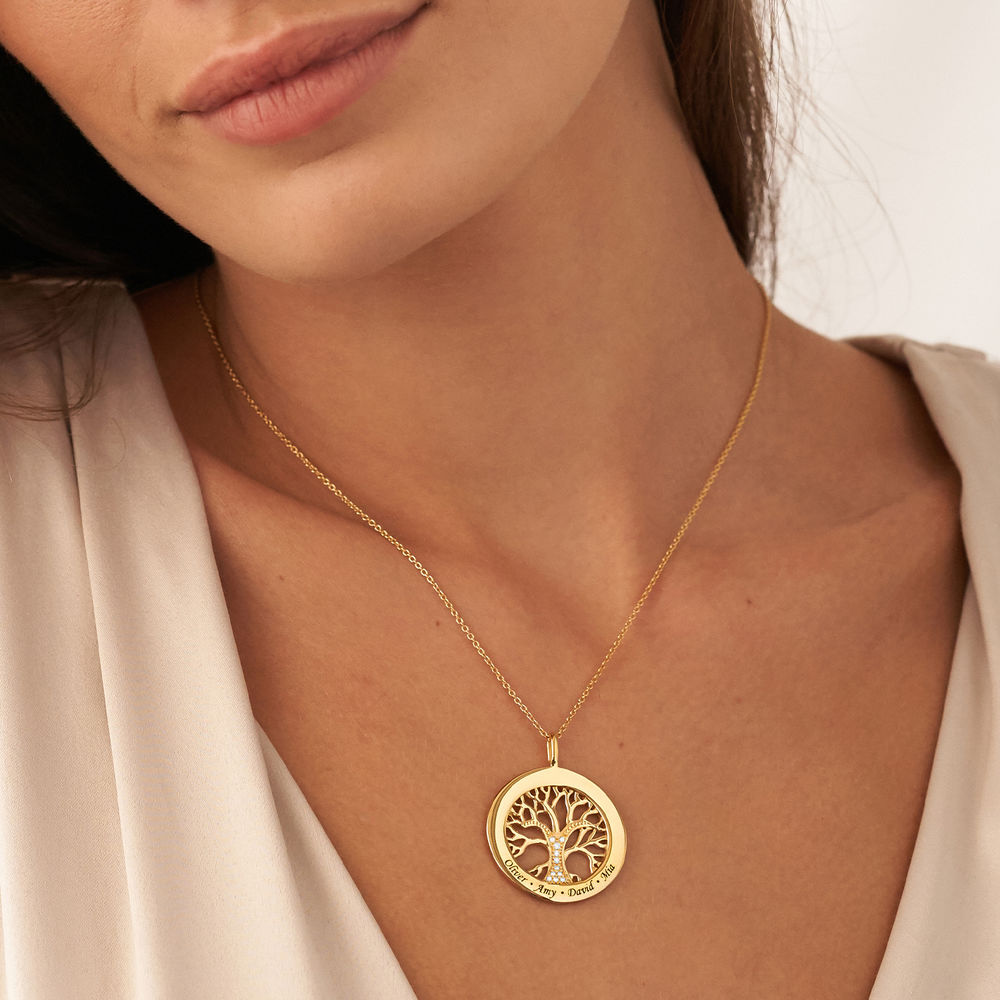 Family Tree Circle Necklace with Diamond in Gold Plating - 2
