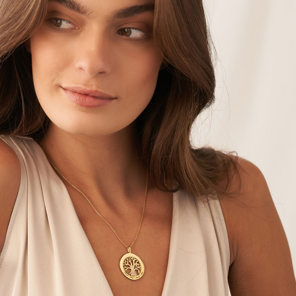 Family Tree Circle Necklace with Diamond in Gold Plating - 3