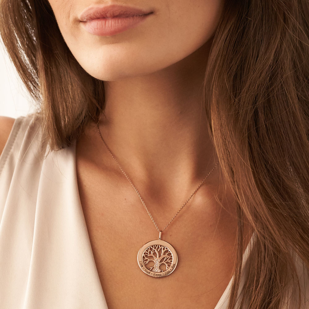 Family Tree Circle Necklace with Diamond in Rose Gold Plating - 2