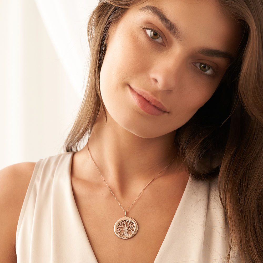 Family Tree Circle Necklace with Diamond in Rose Gold Plating - 3
