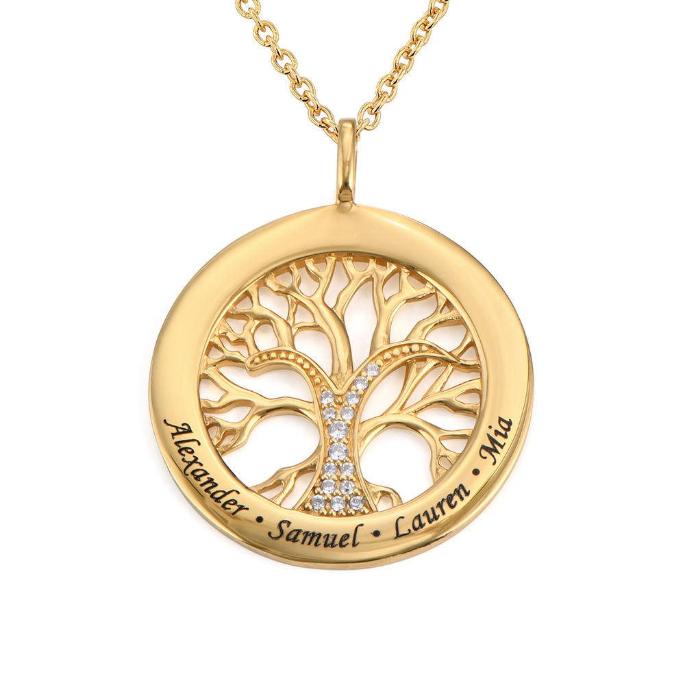 Family Tree Circle Necklace with Cubic Zirconia in Gold Vermeil