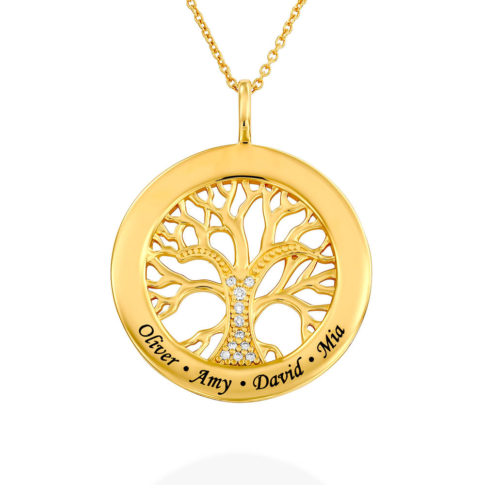 Family Tree Circle Necklace with Lab Diamond in Gold Vermeil