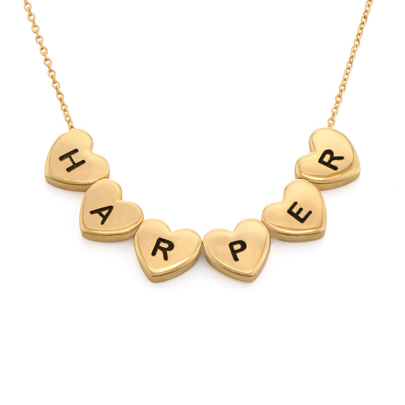 Initial Hearts Stackable Necklace in Gold Plating