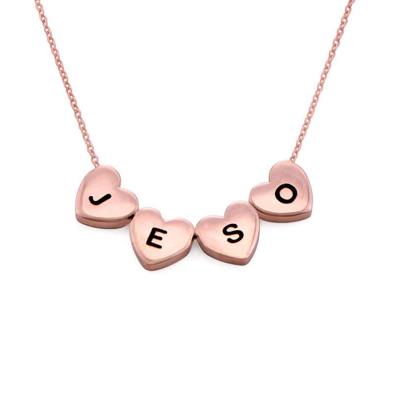 Initial Hearts Stackable Necklace in Rose Gold Plating