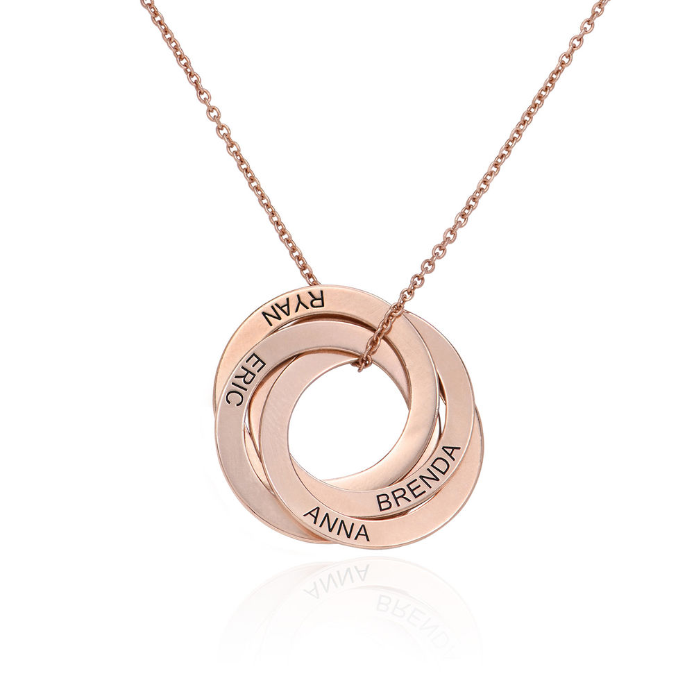 4 Russian Rings Necklace in Rose Gold Plating
