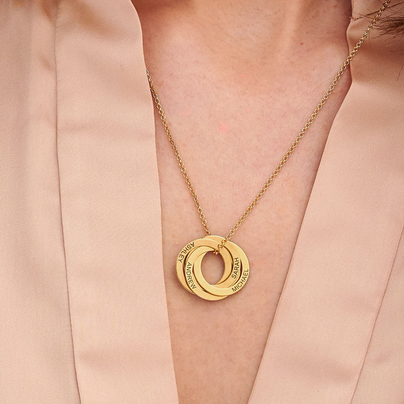 4 Russian Rings Necklace in 18k Gold Vermeil - 2