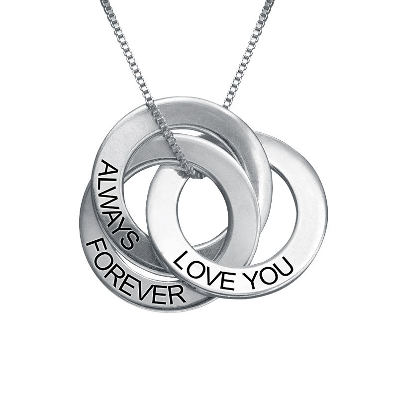 Love you Forever Russian Ring Necklace in Sterling Silver