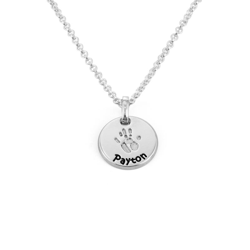 Baby Hand Engraved Charm Necklace in Sterling Silver