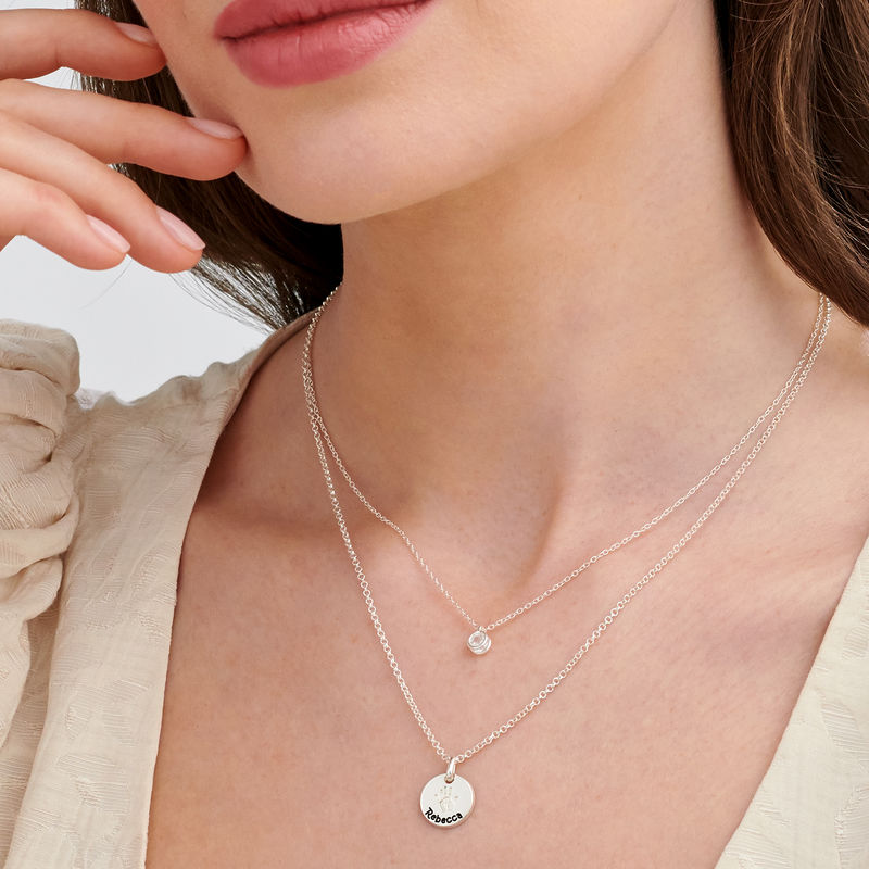 Baby Hand Engraved Charm Necklace in Sterling Silver - 5