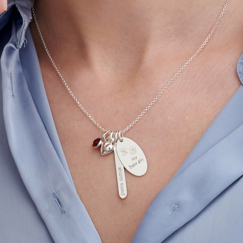 Personalized Mom Charm Necklace in Sterling Silver - 2