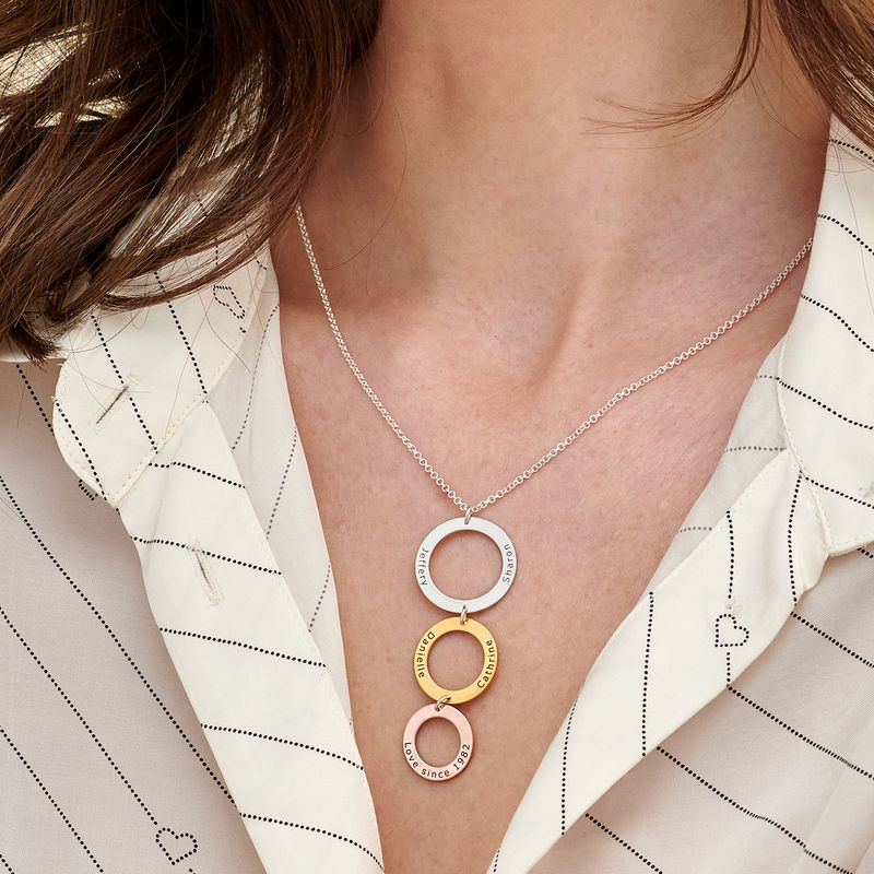 Engraved 3 Circles Necklace in Tri- color - 2