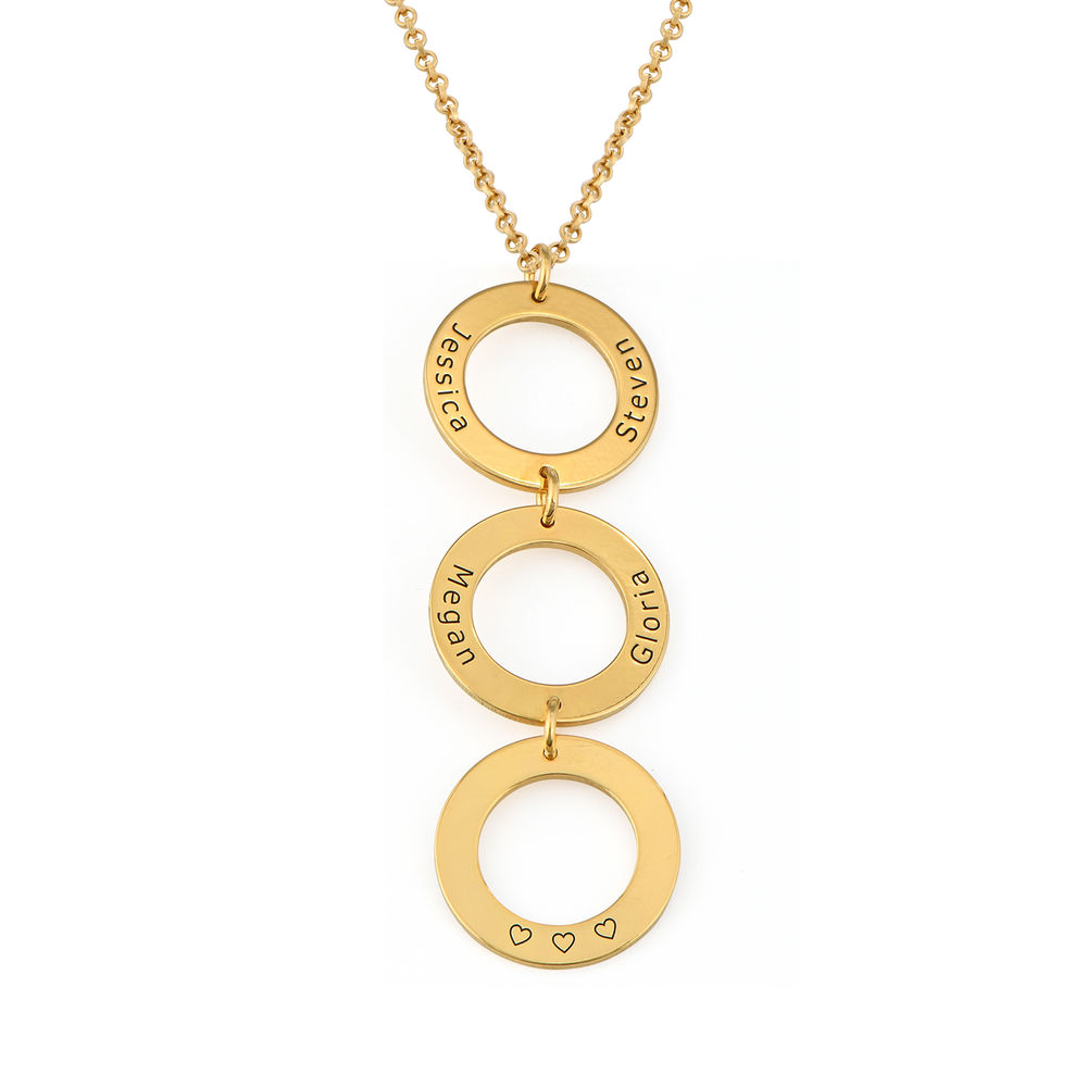 Personalized Vertical Hanging 3 Circles Necklace in Gold Plating