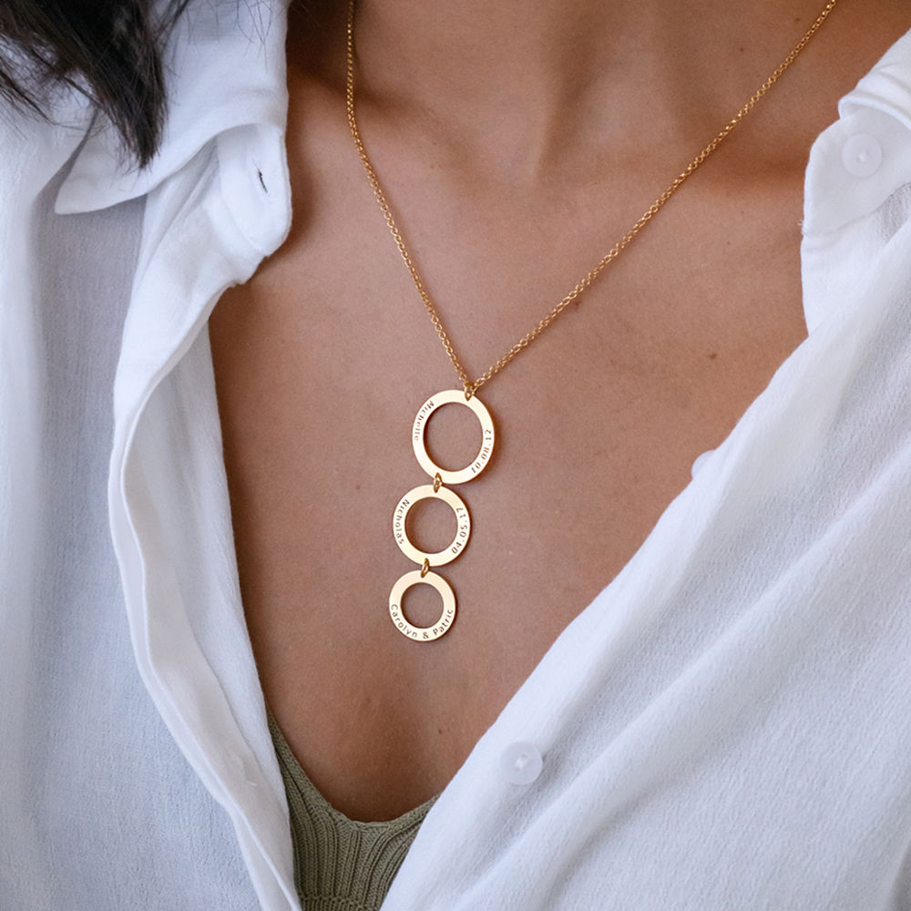 Personalized Vertical Hanging 3 Circles Necklace in Gold Plating - 1