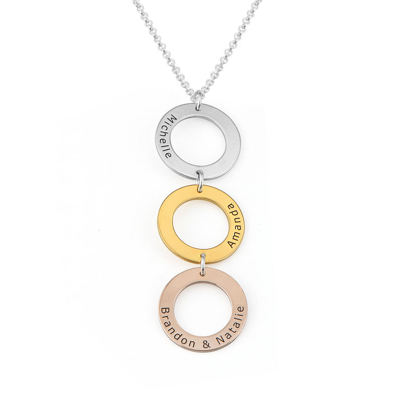 Personalized Vertical Hanging 3 Circles Necklace in Tri-color