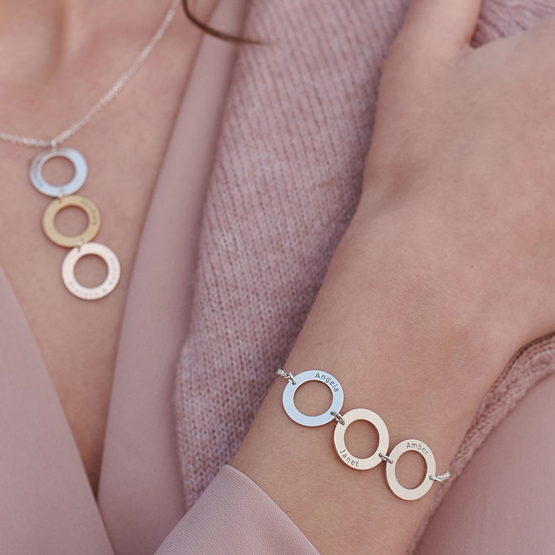 Personalized Vertical Hanging 3 Circles Necklace in Tri-color - 4