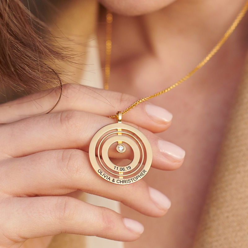 Engraved Circle of Life Necklace in Gold Plating with Diamond - 3