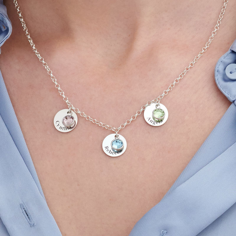 Mom Personalized Charms Necklace with Swarovski Crystals in Sterling Silver - 2