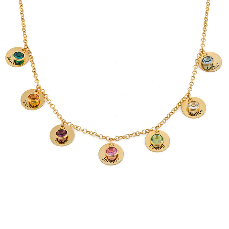 Mom Personalized Charms Necklace with Birthstone Crystals in Gold Plating