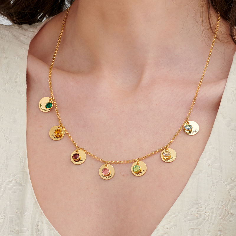 Mom Personalized Charms Necklace with Birthstone Crystals in Gold Plating - 2