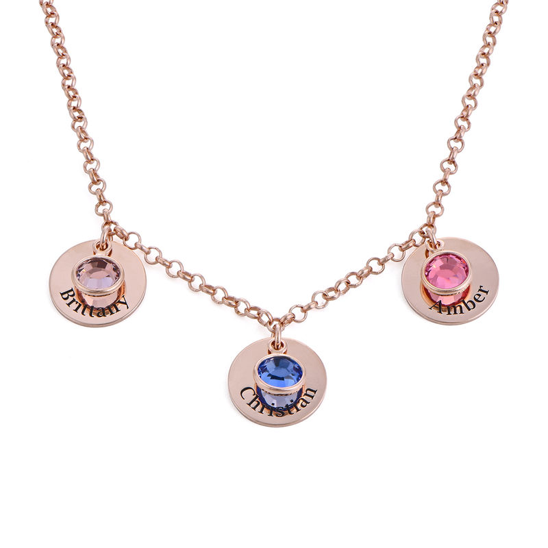 Mom Personalized Charms Necklace with Birthstone Crystals in Rose Gold Plating