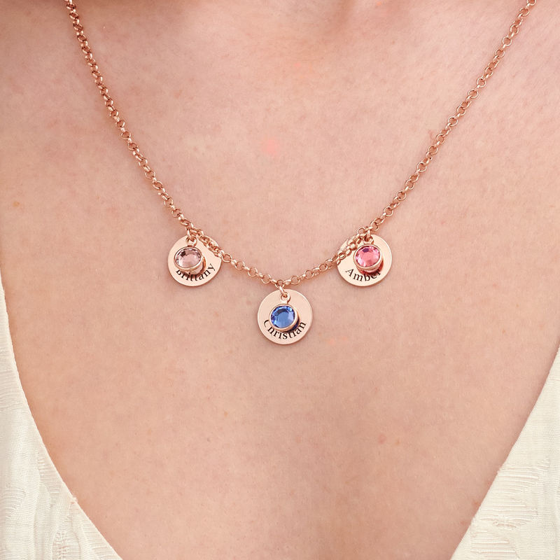 Mom Personalized Charms Necklace with Swarovski Crystals in Rose Gold Plating - 2