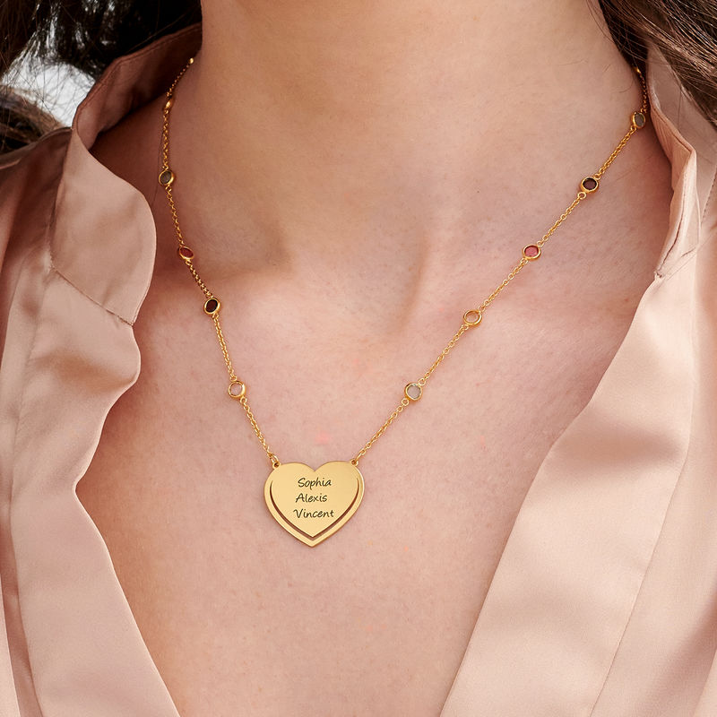Engraved Heart Necklace with Multi-colored Stones chain in Gold Plating - 2