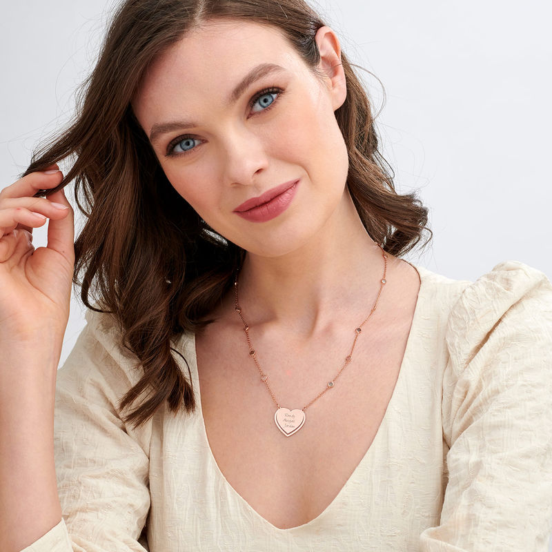 Engraved Heart Necklace with Multi-colored Stones chain in Rose Gold Plating - 1