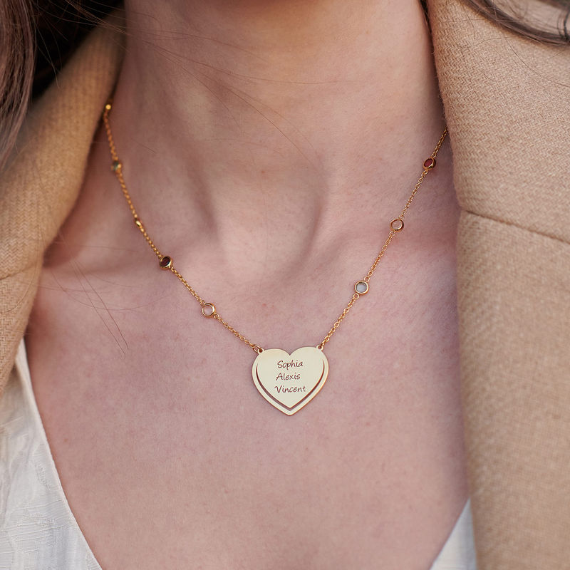 Engraved Heart Necklace with Multi-colored Stones chain in 18k Gold Vermeil - 3