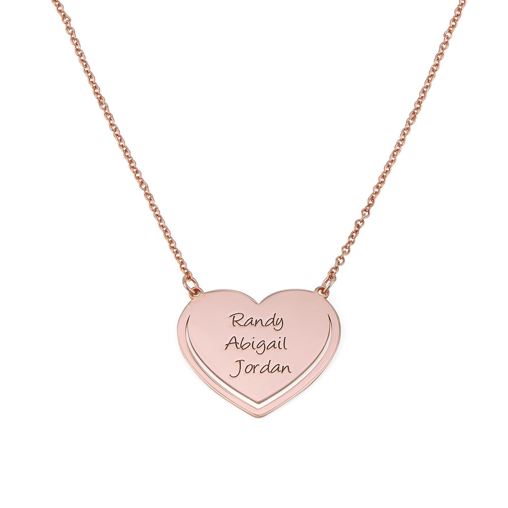 Personalized Heart Necklace in Rose Gold Plating