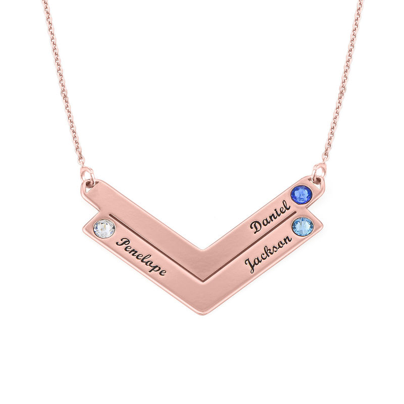 Birthstone Personalized Family Necklace in Rose Gold Plating
