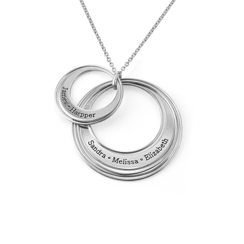 Engraved Two Ring Necklace in Sterling Silver - 1