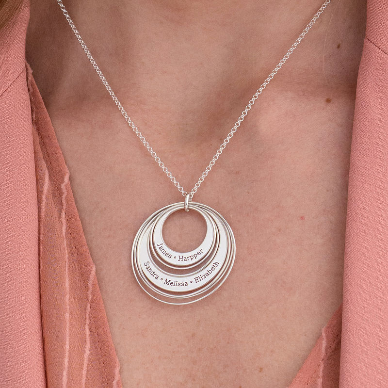 Engraved Two Ring Necklace in Sterling Silver - 3