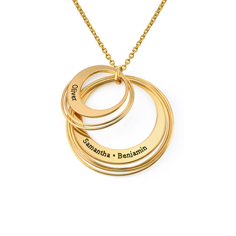 Engraved Two Ring Necklace in 18K Gold Plating - 1