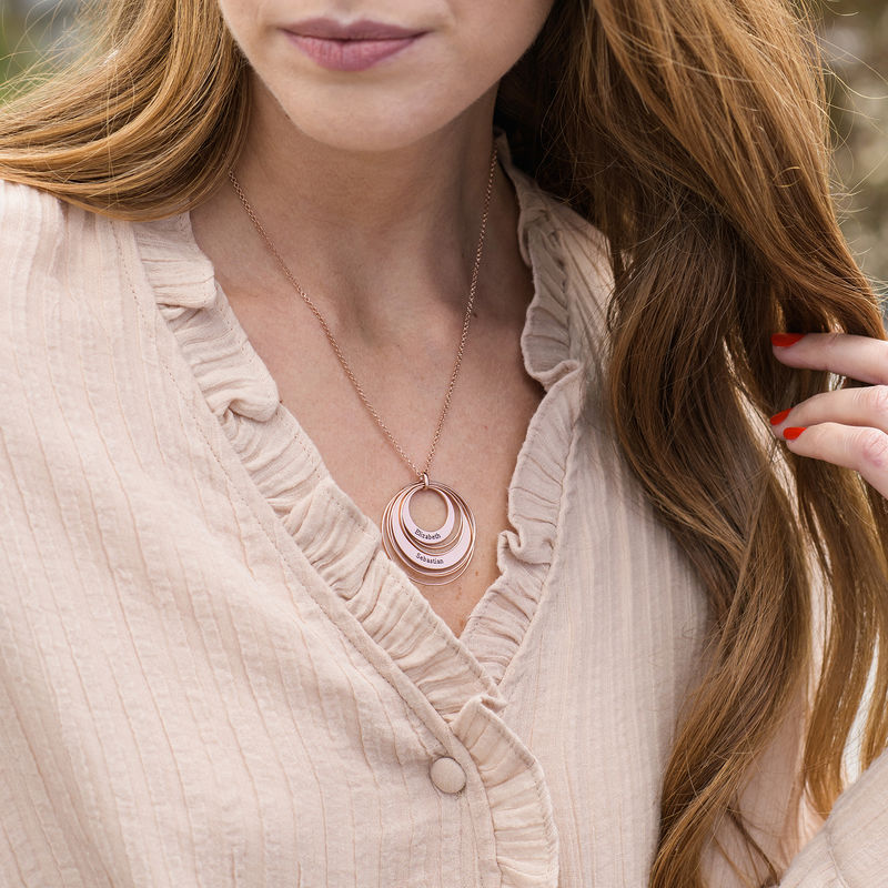 Engraved Two Ring Necklace in 18K Rose Gold Plating - 2