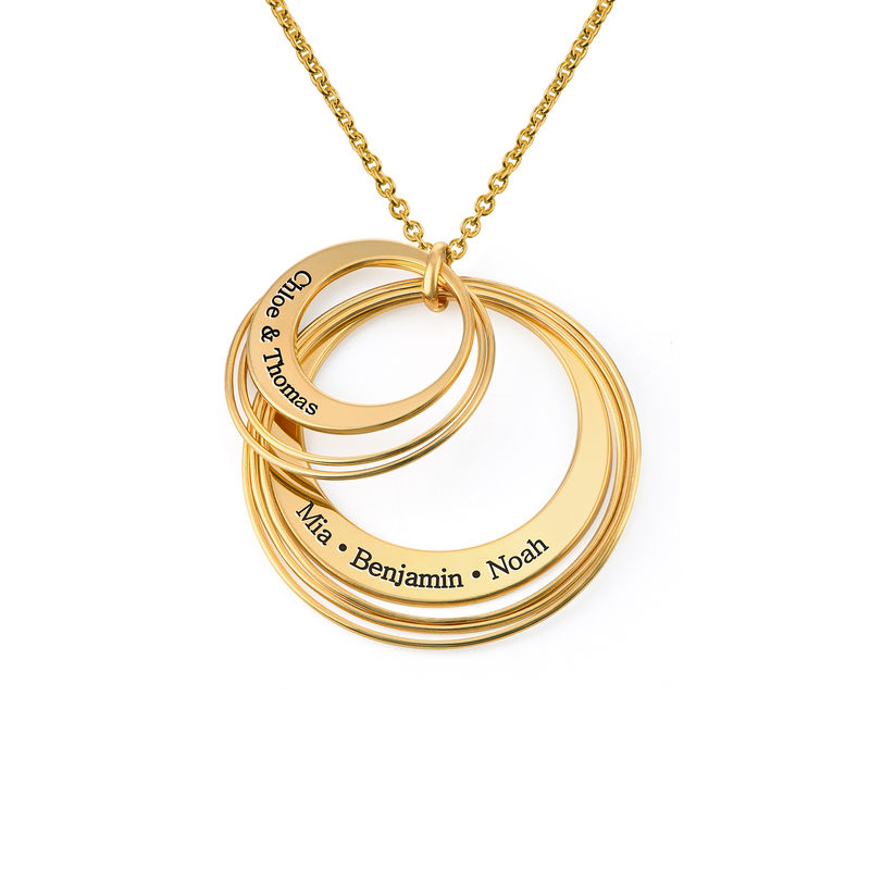 Engraved Two Ring Necklace in 18K Gold Vermeil - 1