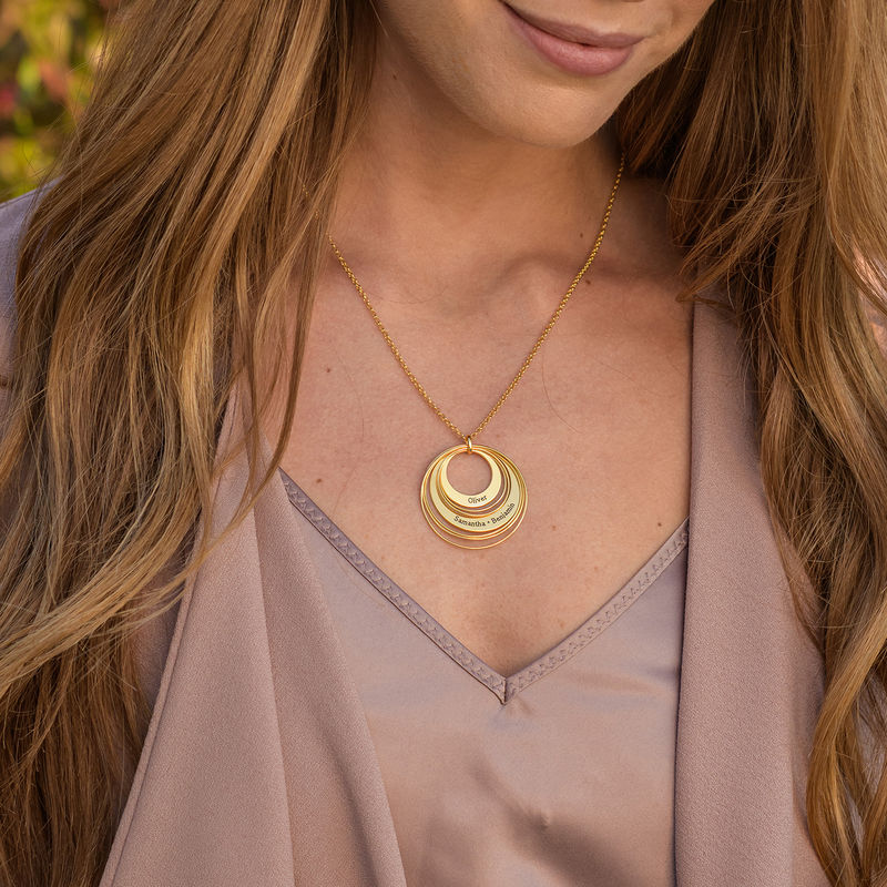 Engraved Two Ring Necklace in 18K Gold Vermeil - 2