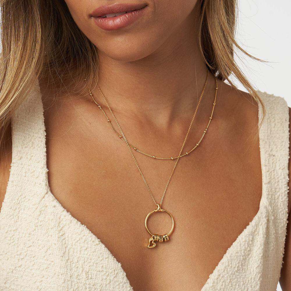 Linda Circle Pendant Necklace in 18k Gold Plating - 4