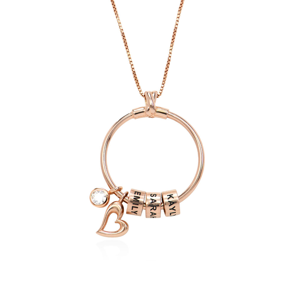Linda Circle Pendant Necklace in 18k Rose Gold Plating