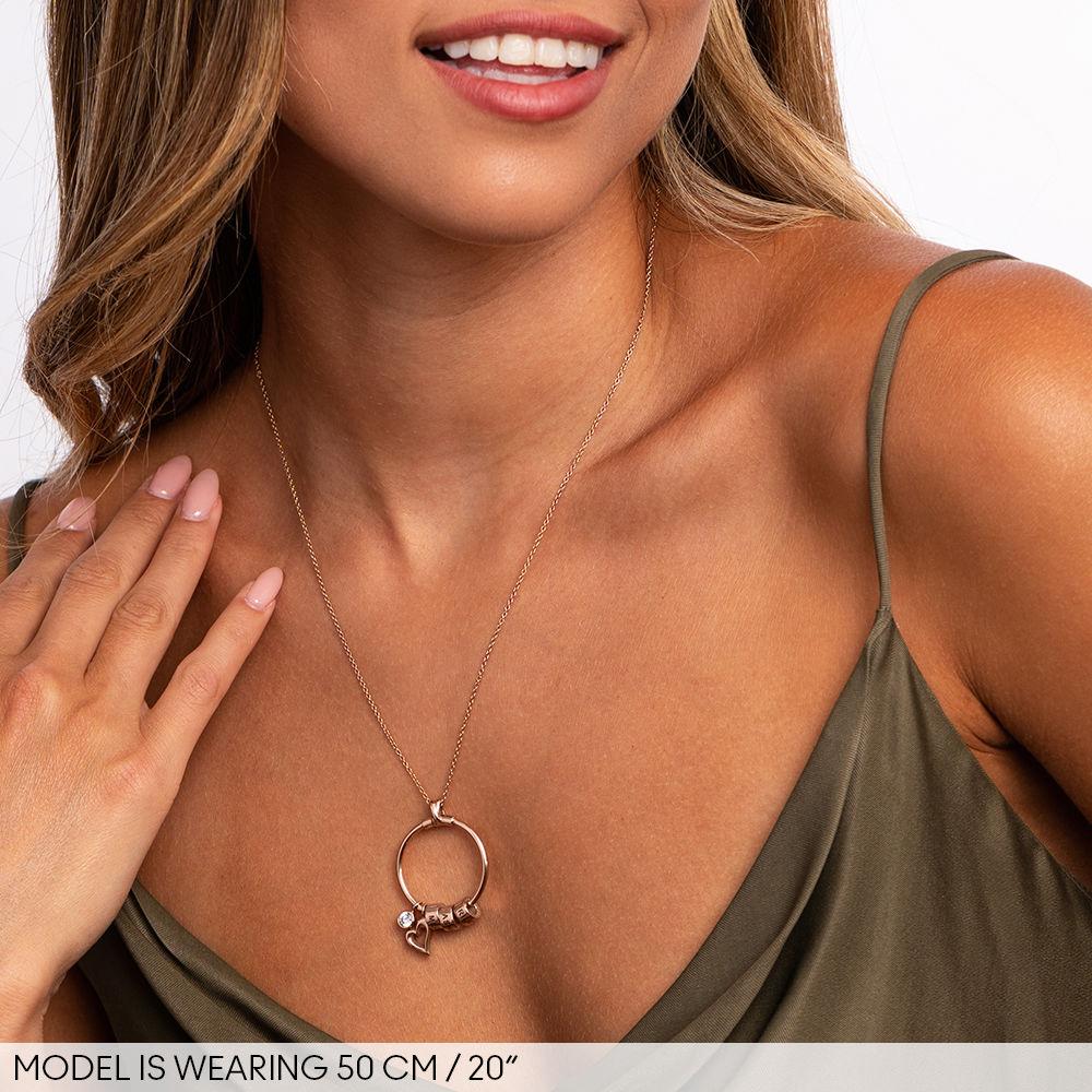 Linda Circle Pendant Necklace in 18k Rose Gold Plating  - 2