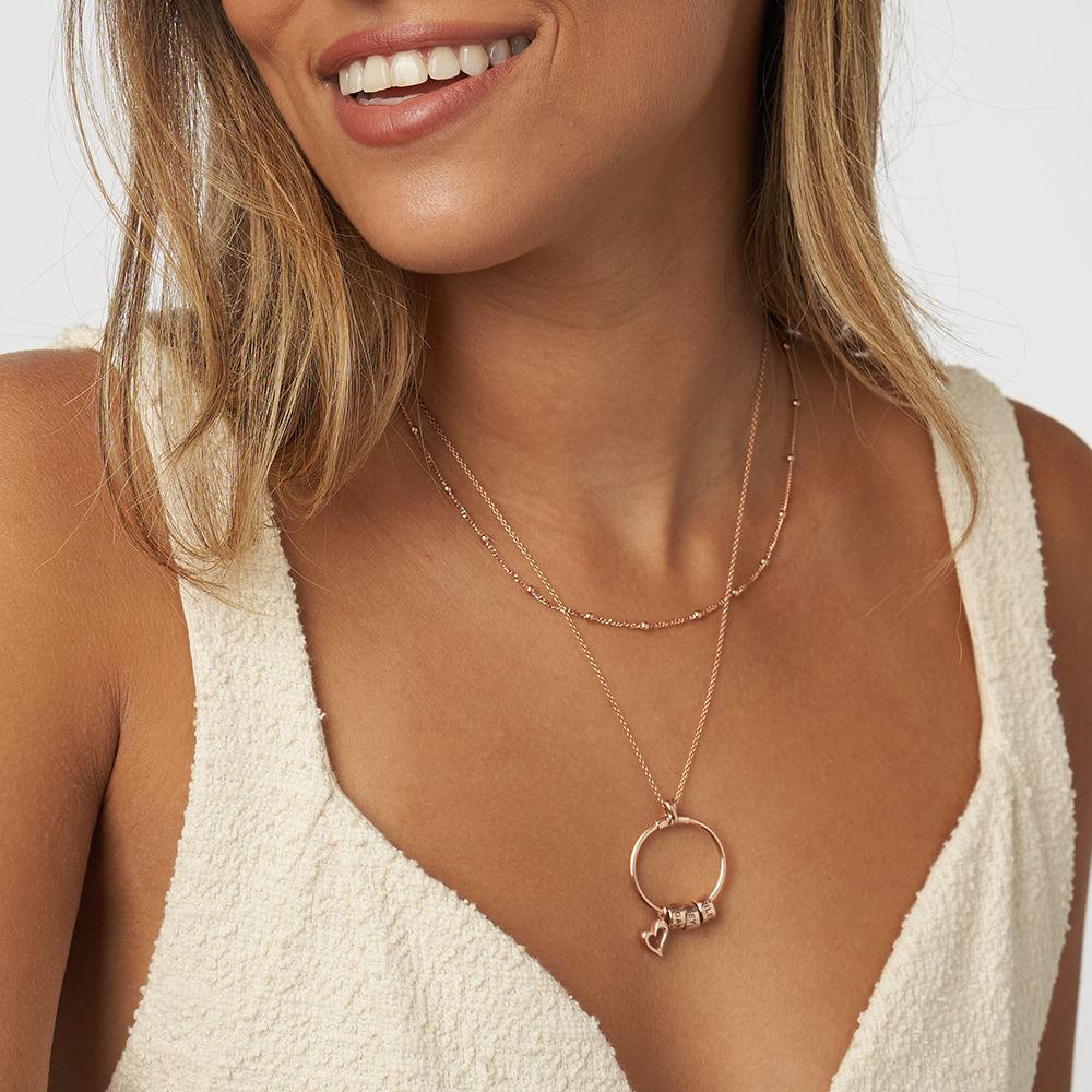 Linda Circle Pendant Necklace in 18k Rose Gold Plating  - 4