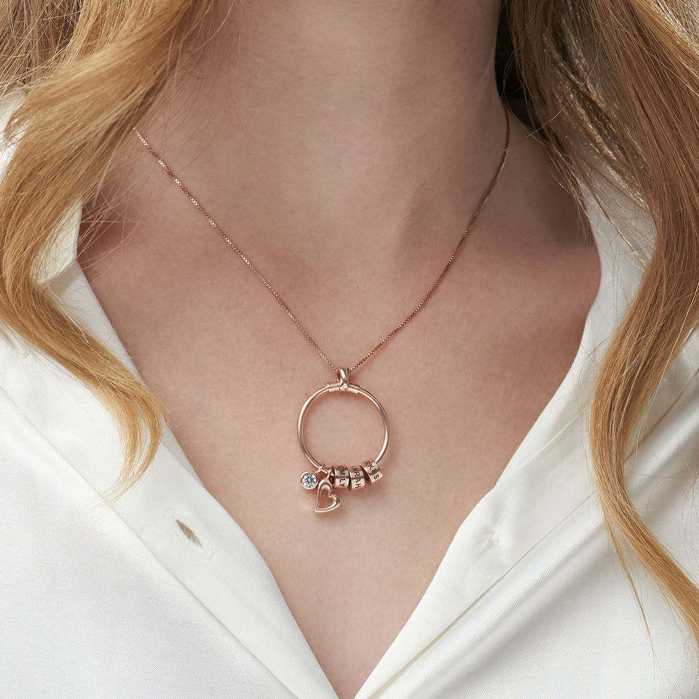 Linda Circle Pendant Necklace in Rose Gold Plating with 1/10 CT. T.W Lab – Created Diamond - 5