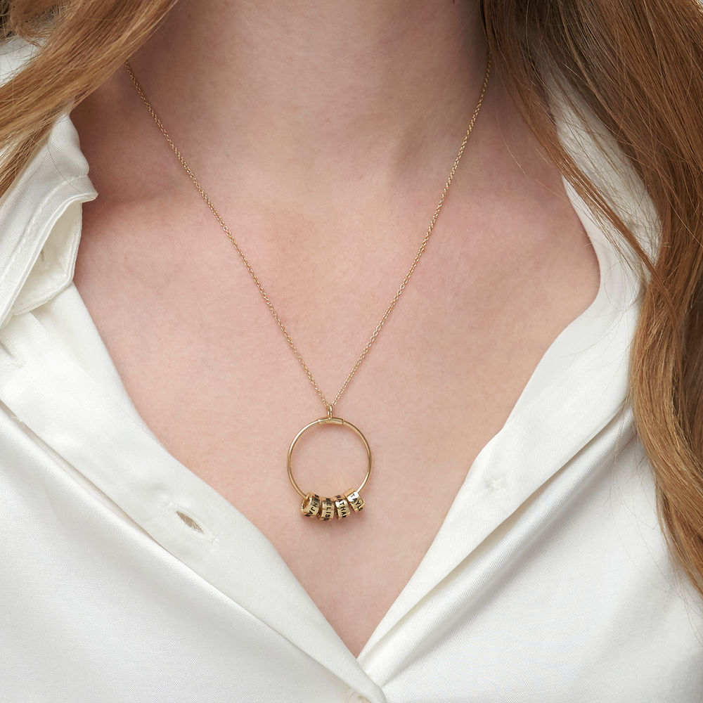 Linda Circle Pendant Necklace in 10k Yellow Gold with Lab-grown Diamond - 2