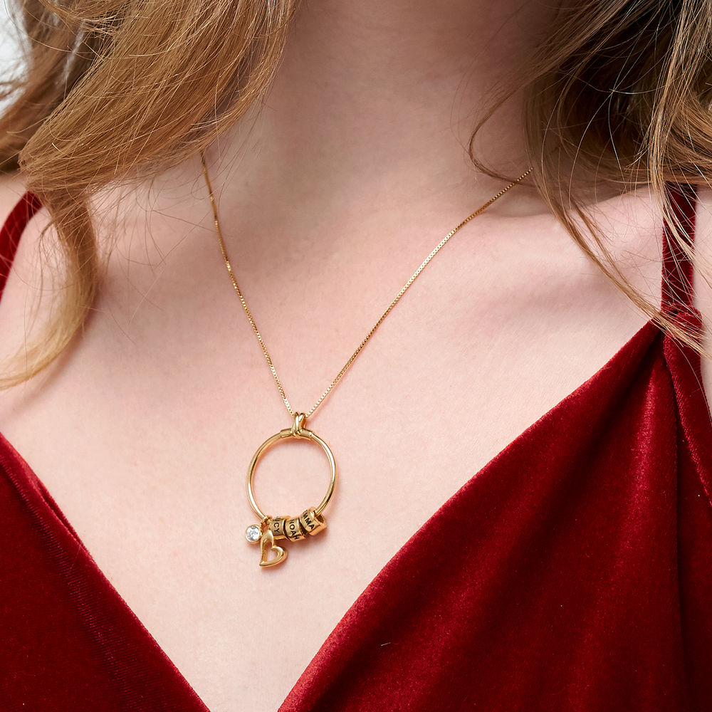 Linda Circle Pendant Necklace in Gold Vermeil with 1/10 CT. T.W Lab – Created Diamond - 4