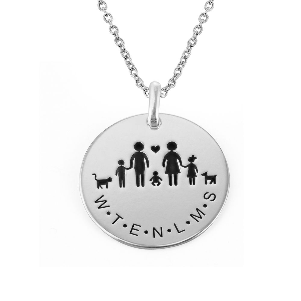 Family Necklace for Mom in Sterling Silver
