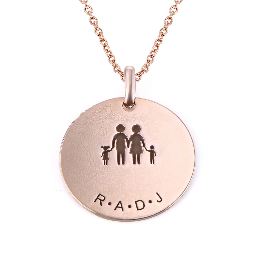 Family Necklace for Mom in 18K Rose Gold Plating